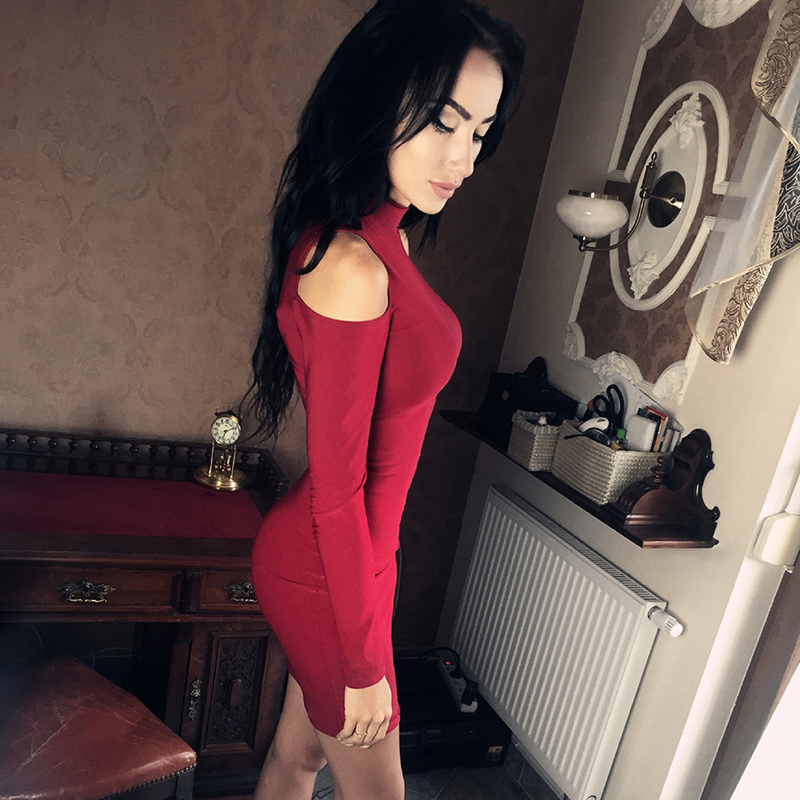 sexy off shoulder autumn long sleeve cultivate one's morality long-sleeved women bodycon dress