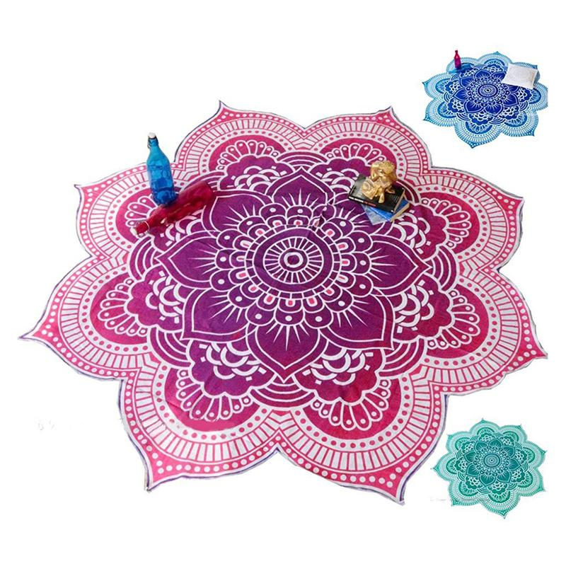 Beach Towel Mandala Tapestry Lotus Flower Shape Outdoor Roundie Hippie Gypsy Throw Towel Tablecloth Hanging Yoga Mat