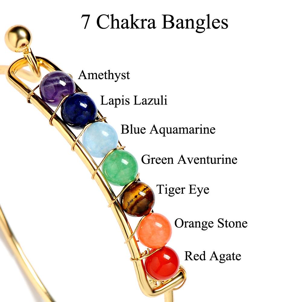 Bracelets en pierre naturelle 7 équilibre de guérison de chakra perles Bracelet Bracelet pour les femmes Stretch ouvert cuivre Bracelets de Yoga Party Favor GGA1219