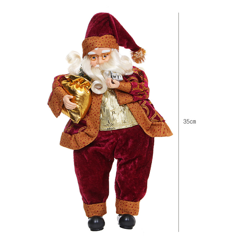 Hot Sale Children Gifts 35CM Christmas Sitting Santa Claus Doll Figurine Toy Home Store Mall Party Ornament Decor Festive Doll