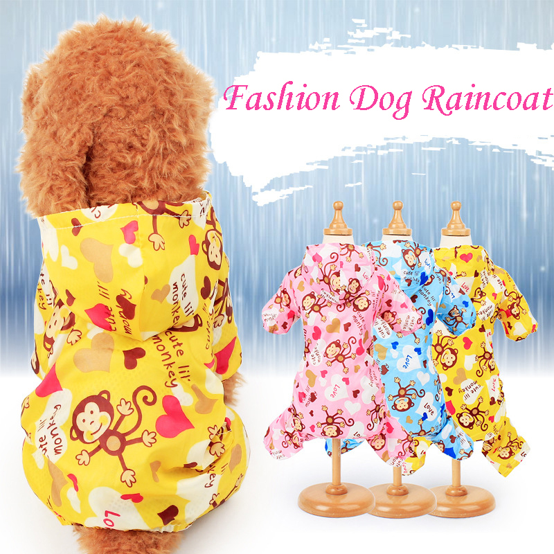 Cute Cartoon Monkey Printed Dog Raincoat for Small Dogs Waterproof Jumpsuit Pet Clothes Outdoor Clothing Dog Cat Hooded Raincoat