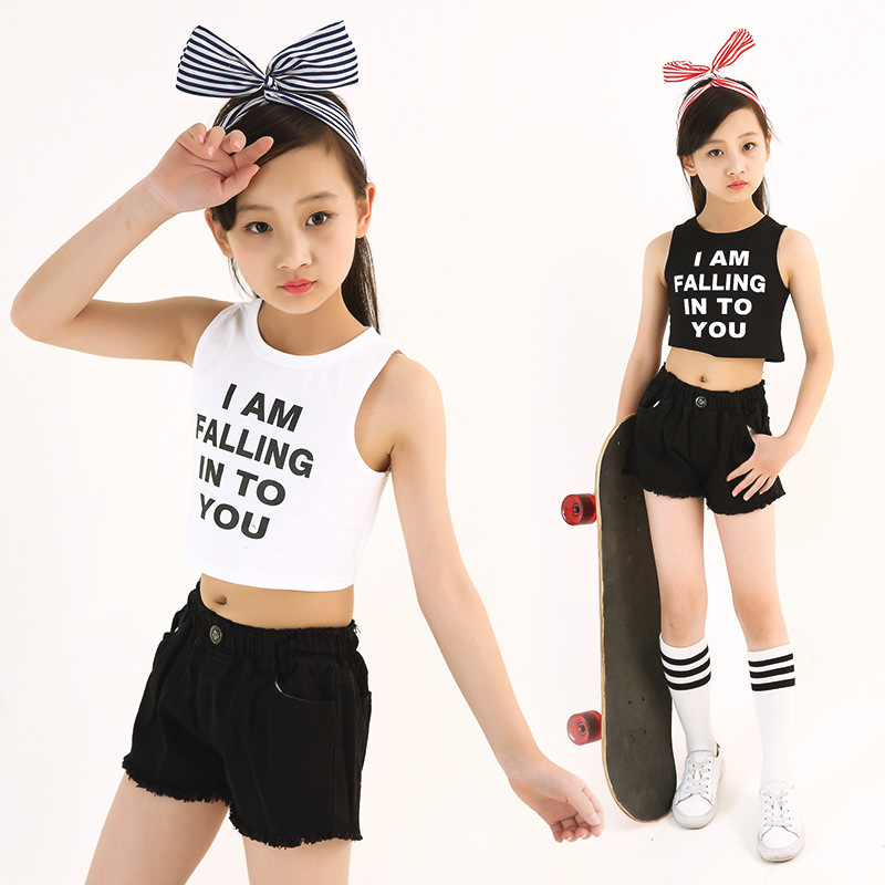 Kids Letter Crop Tank Tops Legging Two Pieces Set For Girls Summer Style Teenage Girl Hip Hop Clothing 10 12 14 16 18 Years Y1892707
