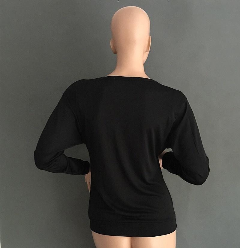 Women Sexy Fashion Batwing Sleeve Blouse Deep V Collar Zipper Sweater Long Sleeved T-shirt Plus Size S-5XL (11)