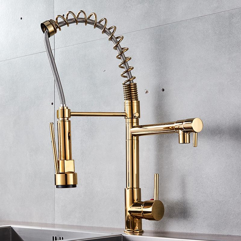 Quyanre Golden Chrome Spring Pull Down Kitchen Faucet Dual Spouts 360 Rotation Single Handle Kitchen Mixer Tap 2 Outlet 2Taps