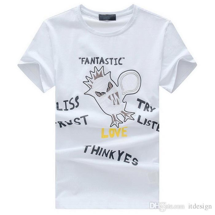 Applique Print Letters T-Shirt Men Street Fashion Design Quick Dry Cotton Tee Slim-Fit Spring Summer Top Wears