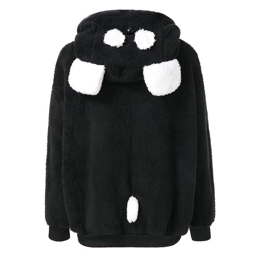 Plush Warm Coat Cute Bear Ear Panda Winter Hoodie Coat Women Hooded Jacket Outerwear #0928 A#487