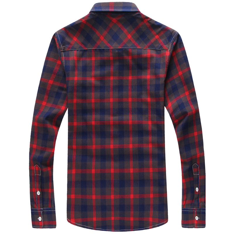 Abetteric Men Plus Size Britain Single-Breasted Plaid Tshirt Shirt