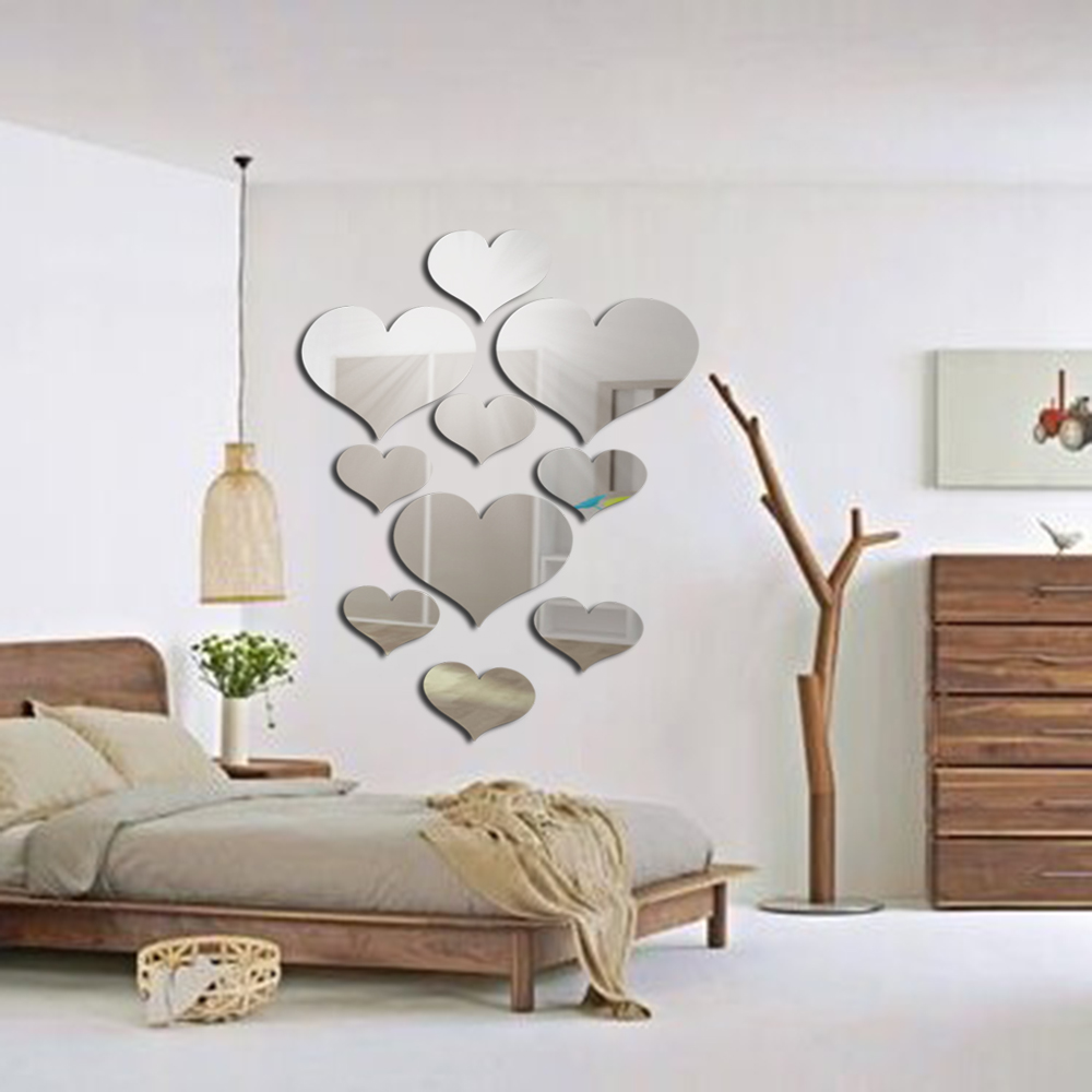 3D Black Mirror Love Hearts Wall Sticker Decal DIY Wall Stickers for Living Room