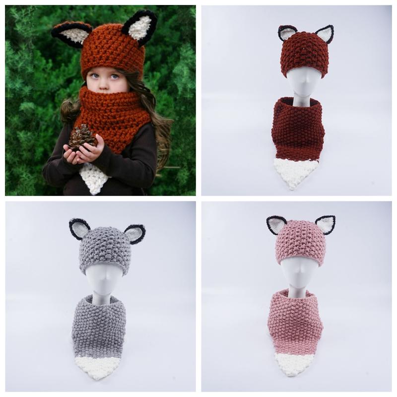 Kids fox knitting Caps scarf set baby knitted Beanies cartoon winter Wool cap INS children outdoor Knitted neckerchief hat GGA1024