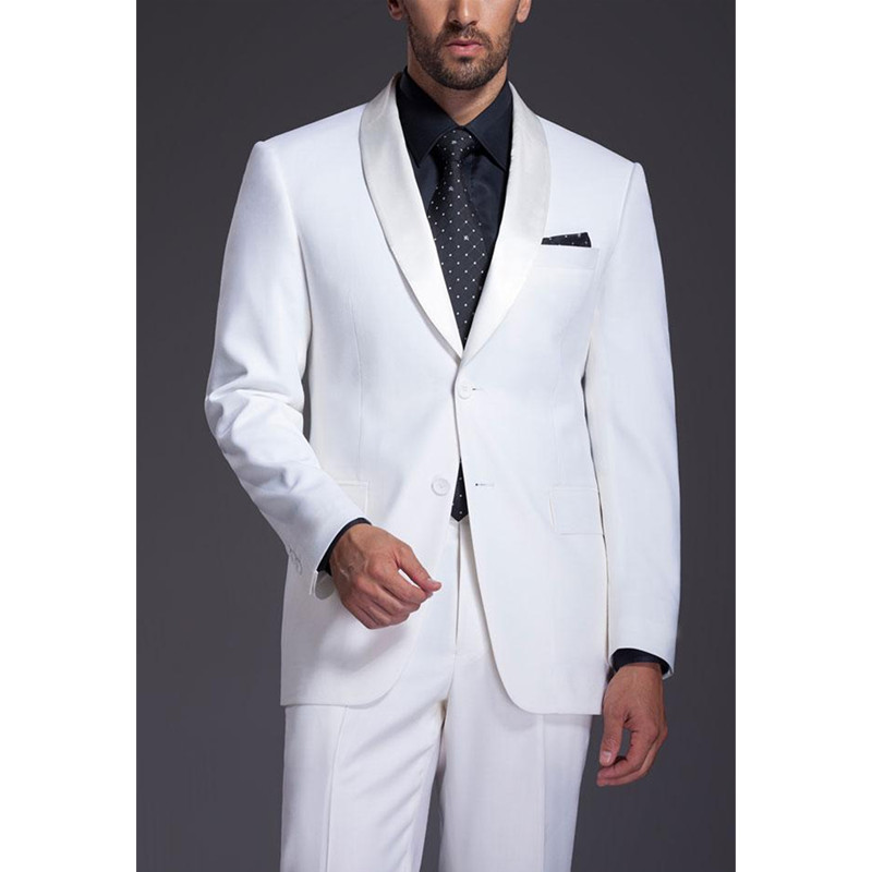 261 Brand New Mens Suits Groomsmen Shawl Satin Lapel Groom Tuxedos White Wedding Best Man Suit (Jacket+Pants+Tie+Girdle) B659
