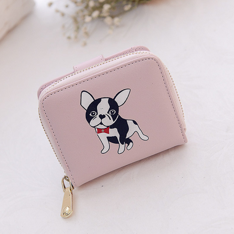 4 Cute Dog Face Print Double Sided Soft Coin Clasp Purse Wallet