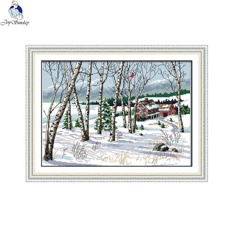 19/×41CM Parrot 3 Joy Sunday Cross Stitch Kit 14CT Stamped Embroidery Kits Precise Printed Needlework