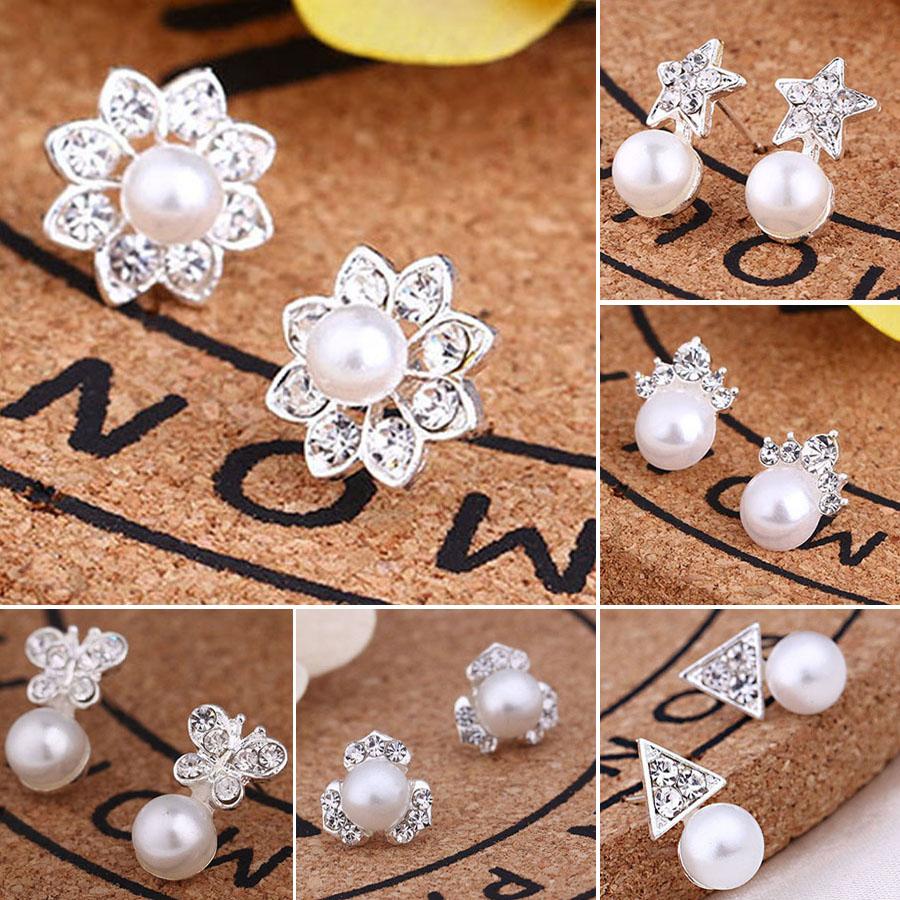 Girls Flower Crystal Ear Studs 925 Sterling Silver