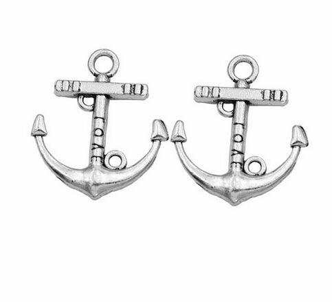 Tibetan Silver color love anchor design charms 15pcs EF0011