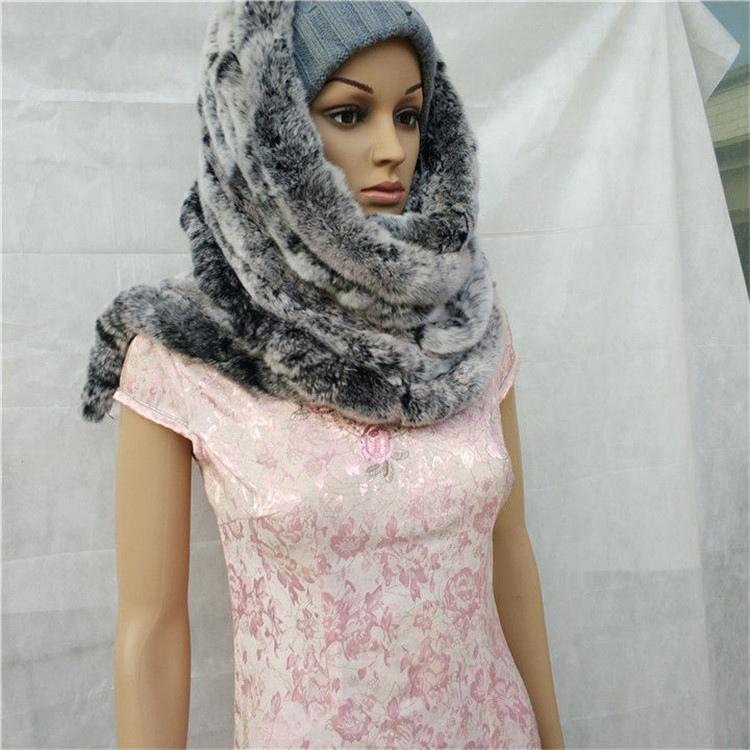knitted rex rabbit fur scarf for women winter (14)