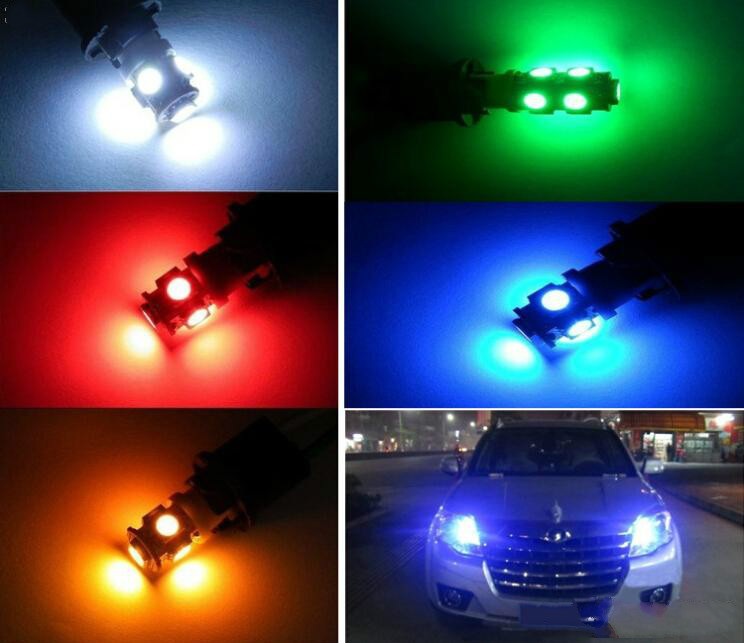 T10 5smd 5050 194 168 2450 2921 Wedge Car Bulbs for Side Lights LED auto lights reading lights Yellow/Red/Green/Blue/White