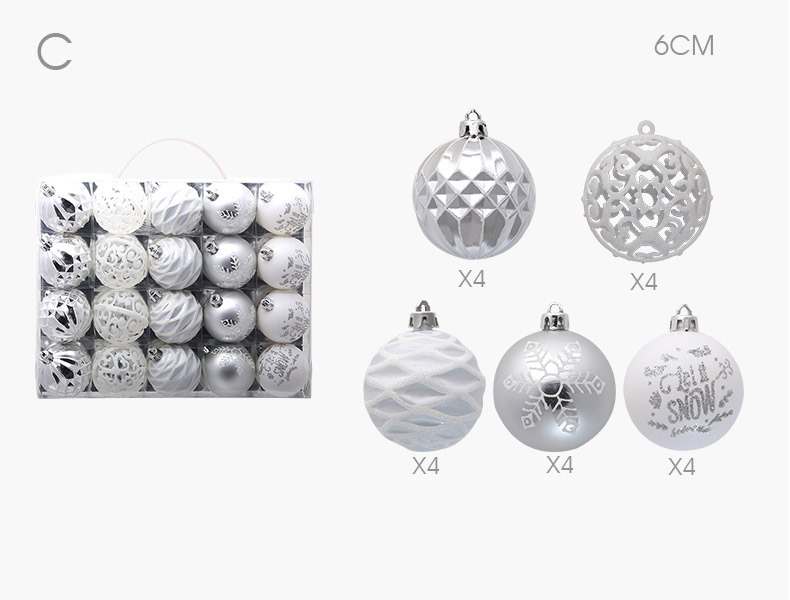06 inhoo 20pcs Christmas Tree Ornament Balls plastic 6cm Xmas Baubles Accessories Christmas Decorations For Home Party Gift