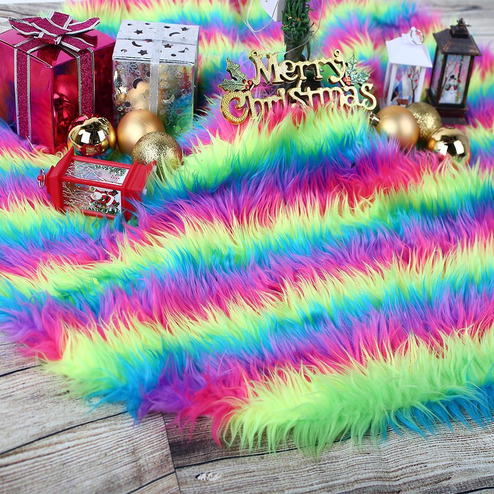 Beautiful Christmas Tree Dress Christmas Tree Skirt Christmas Tree Stand Floor Mat Home Decoration Long Plush Colorful