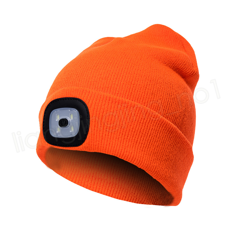 LED Light Hat Battery Type Winter Beanies Fishing Camping Cap Knitted Hat Camping Outdoor Crochet caps Hats GGA1016