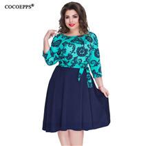 COCOEPPS-Women-Flower-Print-Fashion-Big-Size-Dress-Knee-Length-Polak-Dot-Patchwork-Summer-Dresses-2018 (3)