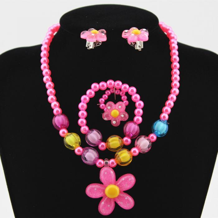 Enfants babys fausse perle bijoux lot mariage communion collier boucles d/'oreilles bracelet