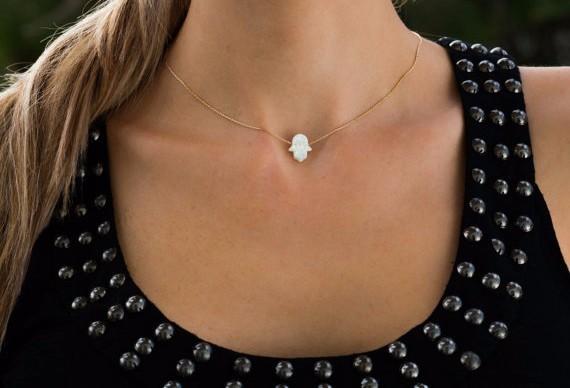 Opal Hamsa Choker Necklace Fatima Hand Pendant Necklace Stone Charm Statement Necklace Jewelry Christmas Gift
