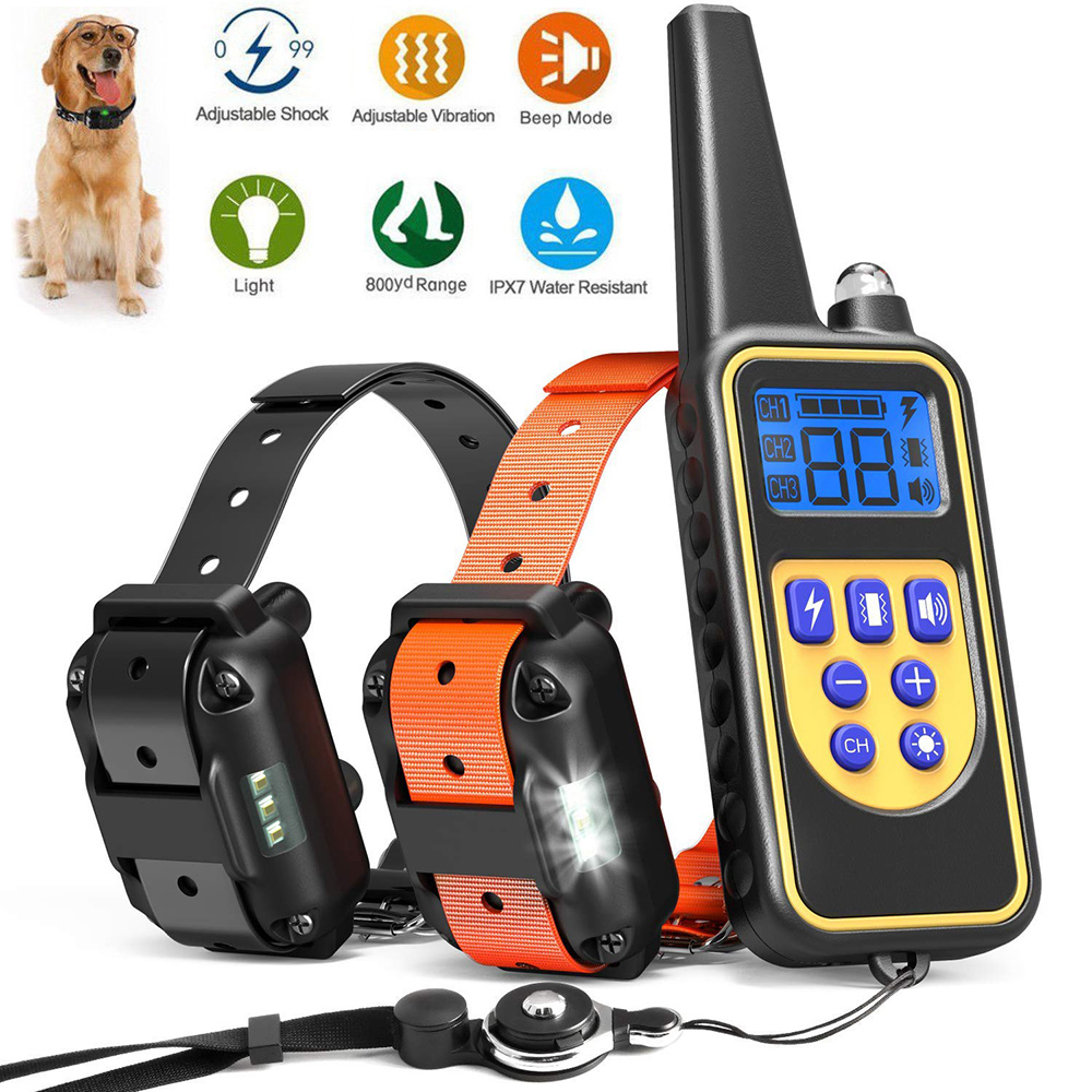 Electric Petrainer Dog Training Necklace Tool collar Waterproof Rechargeable Remote Control For 1/2/3 Dog