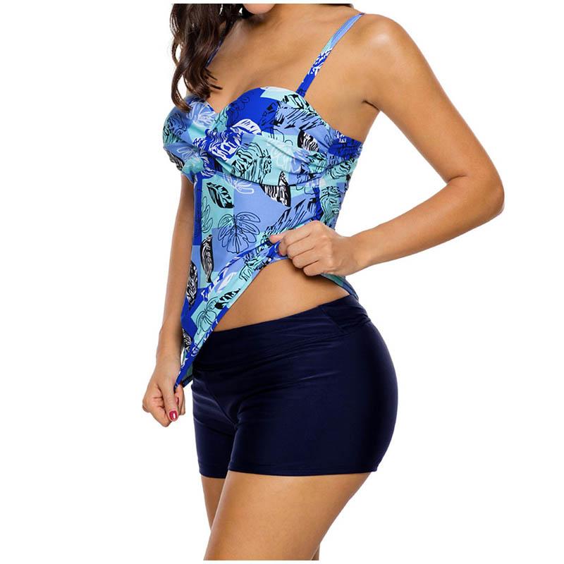 FS Female Floral Leaves Print Long Sport Swimsuit High Waist Trunks Bikinis Set Wrap Swimwear For Women Brazilian Bathing Suits_5