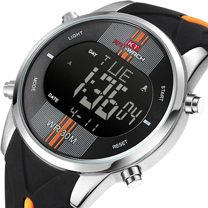 Men's watch movement waterproof fashion night light countdown alarm clock KT716