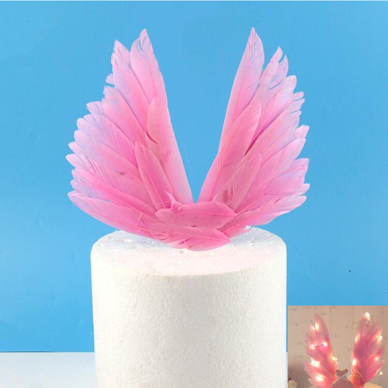 Lighted Feather Angel Wing Cake Topper Cupcake Toppers Cake Decoration Children Girls Birthday Party Christmas Halloween