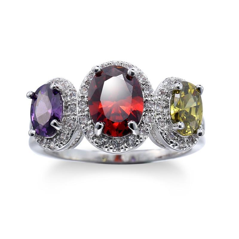 White Stone Silver ring Cubic Zircon diamond jewelry for women engagement bijoux heart wedding accessories
