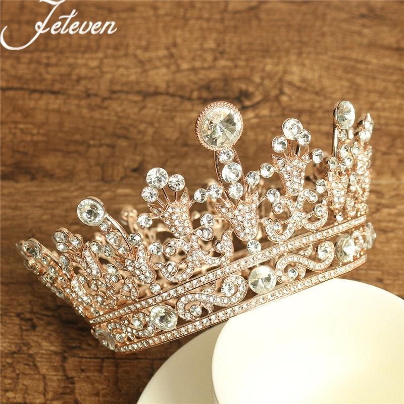 Romantik Altın Kraliçe Tiara Taç Tam Yuvarlak Kristal Rhinestone Prenses Pageant Balo Headpieces Gelin Düğün Saç Takı S926