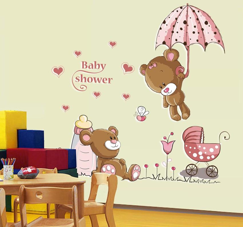 Wholesale Pink Cartoon Cat Rabbit Flower Wall Sticker For Baby Girls Kids Rooms Home Decor Teddy Bear Umbrella Classroom Wall Decals