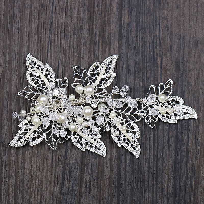 Handmade Silver Barrettes Wedding Hair Accessories Pearl Head Clip Rhinestone Hair Ornament Leaves Crystal Style Hair Decoration (1)