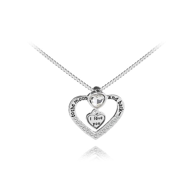 925 Silver Fashion I love you to the moon and back necklace pendant heart lovers necklace Valentine's Day gift