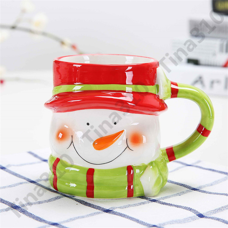 Мультфильм животных керамическая чашка творческий Рождество тема 3D кружка кофе стерео термостойкий стакан для детей подарок 90 шт.