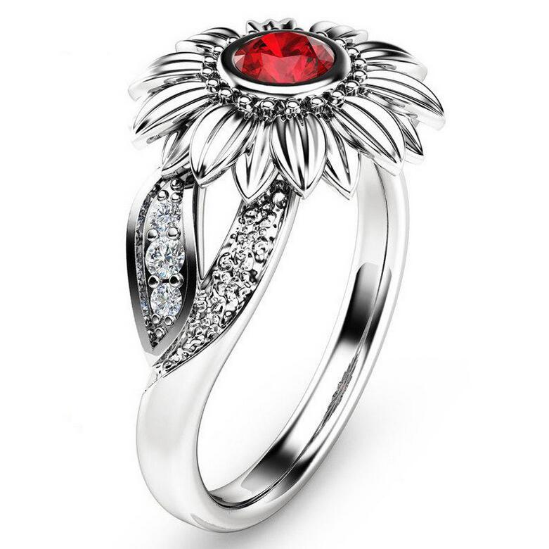 Victoria Wieck New Arrival Hot Fashion Jewelry 18K White Gold Filled 5A Cubic Zirconia Chrysanthemum sunflower Women Band Ring Gift