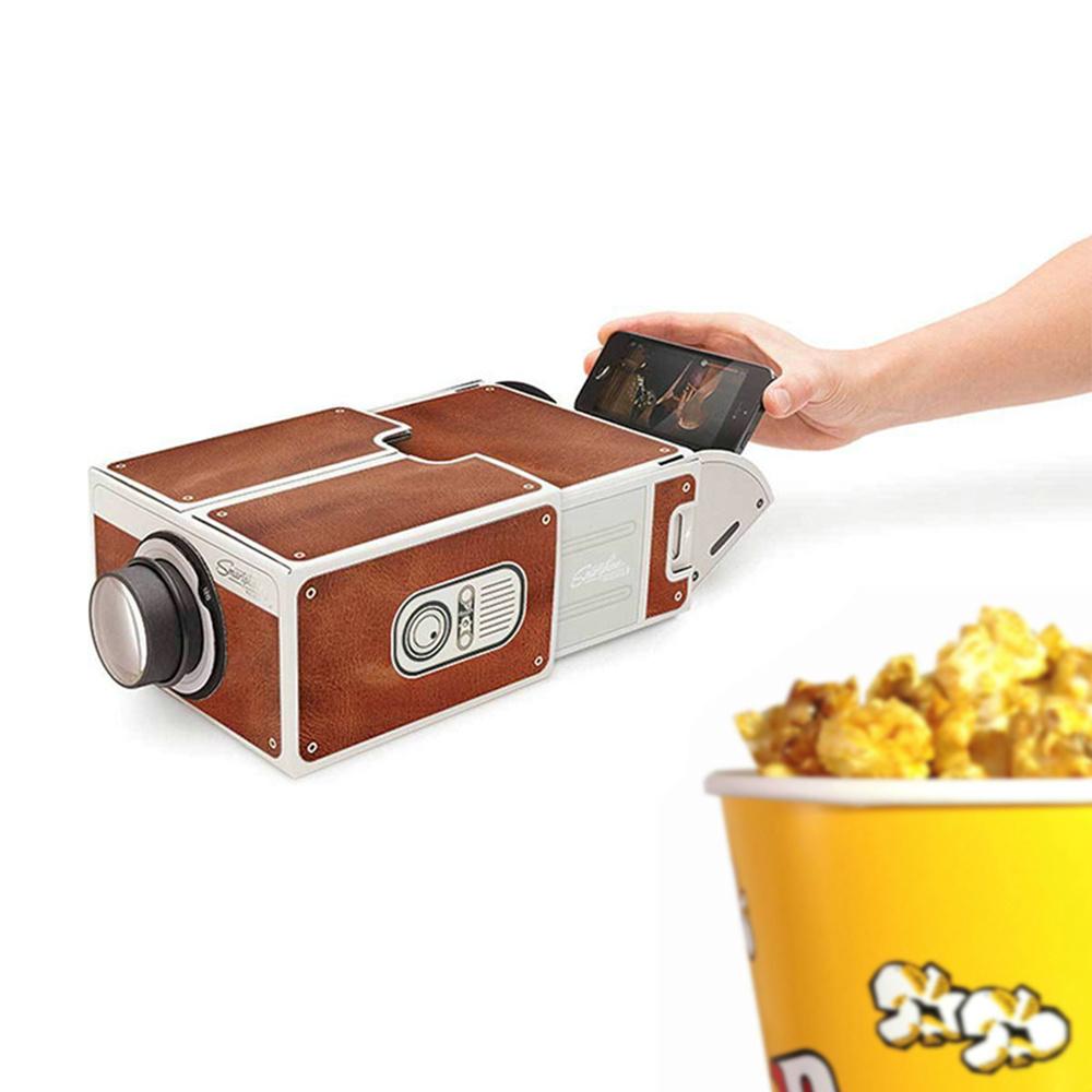Горячие продажи мини Портативный проектор кино DIY картон смартфон проекция мобильный телефон проектор для домашнего проектора Аудио Видео подарок