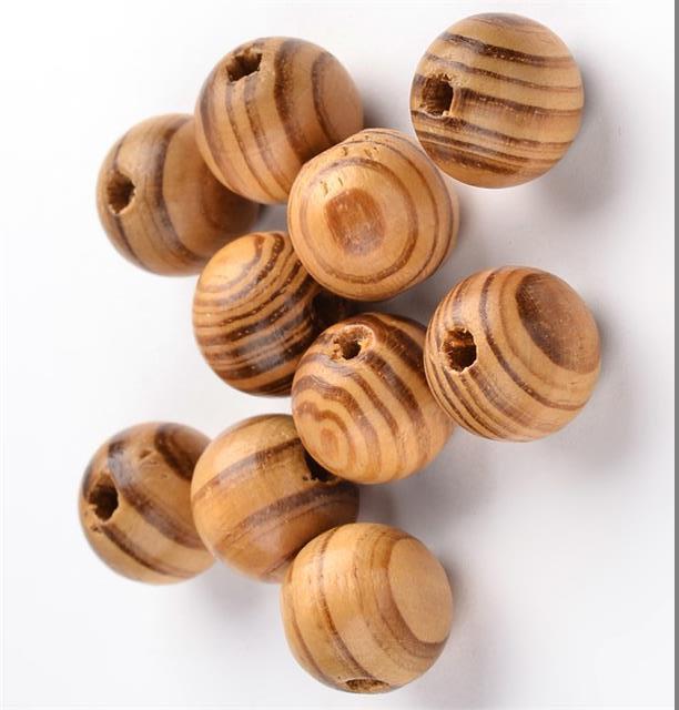50pcs 12 mm Rond en Bois Boule Perle Spacer Naturel Inachevé À faire soi-même Craft Jewelry