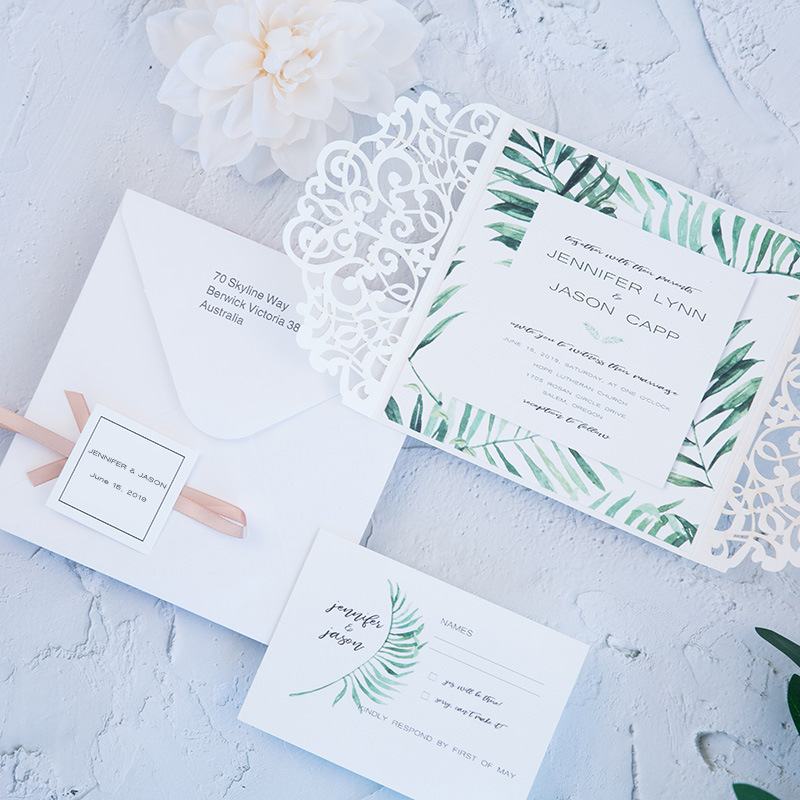 Design Laser Print Customizes Invitations Cards For Wedding Ribbons Decorations With Envelope RSVP Card Paper Convites