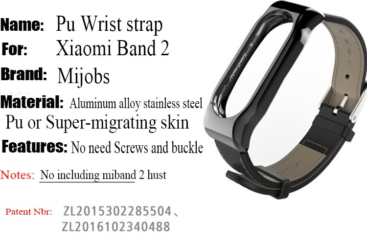 pu wirst strap for miband 2
