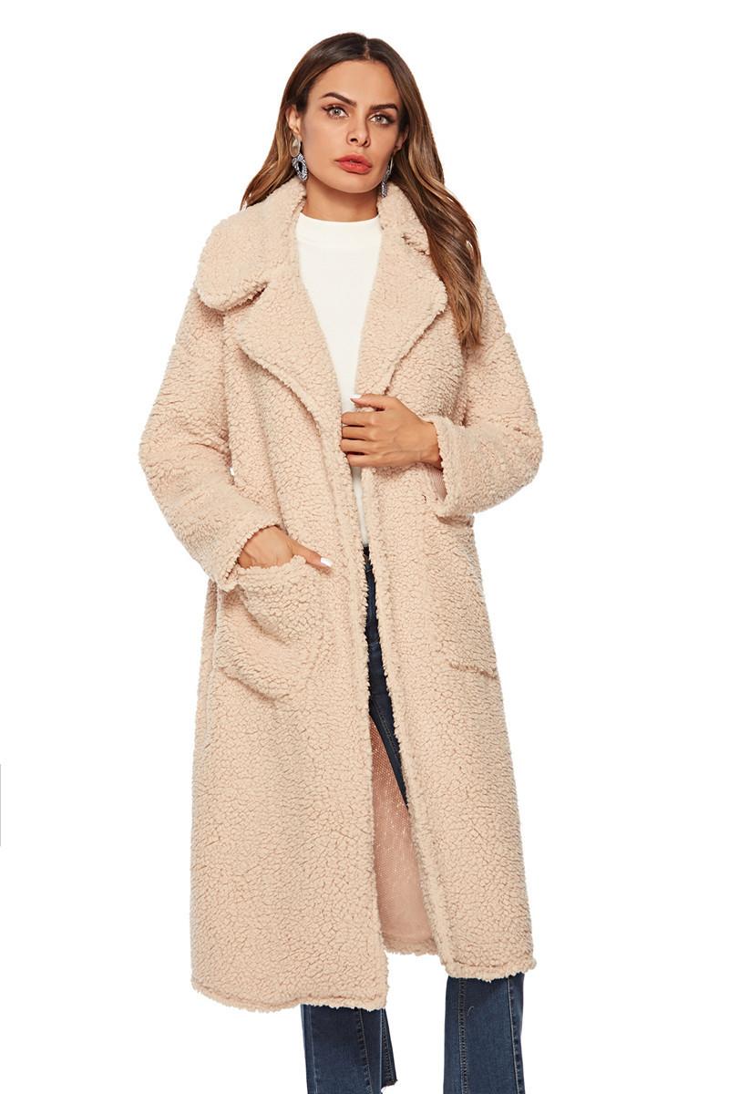 faux lambswool women long section coat outerwear-1