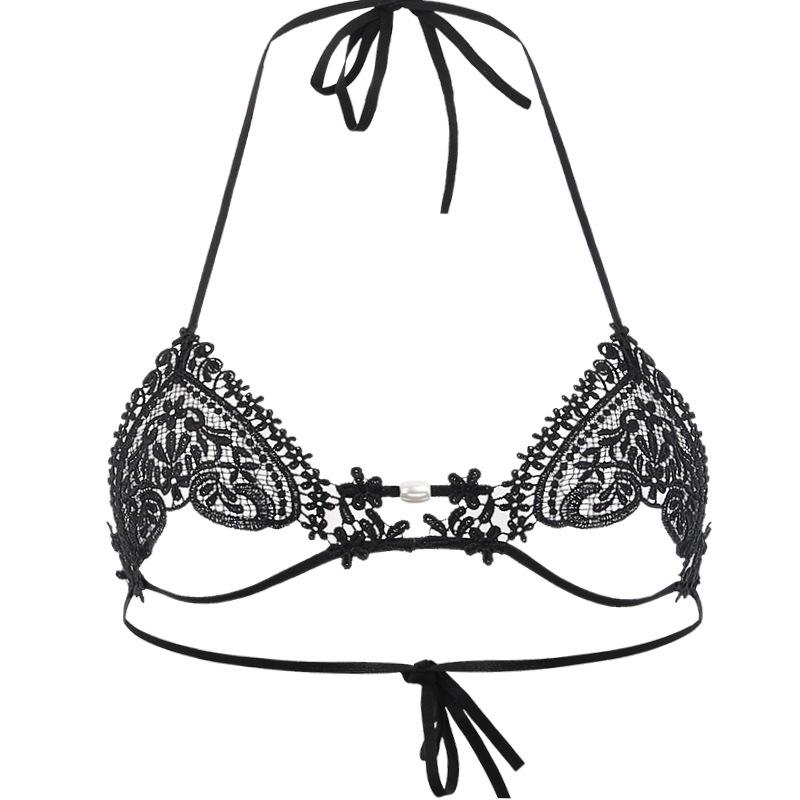 Las mujeres empujan hacia arriba el sujetador que rebordea la ropa interior de la correa Set Bordado de encaje sólido bralette inalámbrico Panty conjuntos de la ropa interior de la secuencia de la perla G