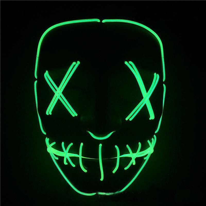 LED Halloween Ghost Masks EL Wire Slit Mouth Light Up Glowing Scary Horror Masquerade Mask Cosplay Costumes Party Full Face Masks hot