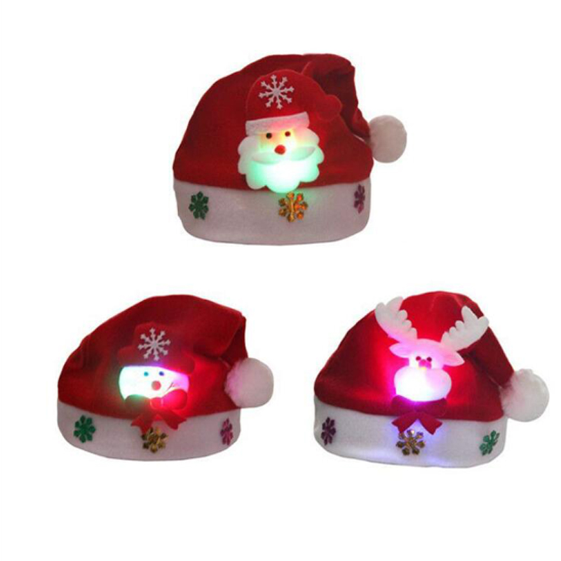 Christmas Hats Santa Cap Kids And Adult Size LEDLight UpLuminous Christmas Hat Decoration New Year Xmas Gifts Party Supplies (4)