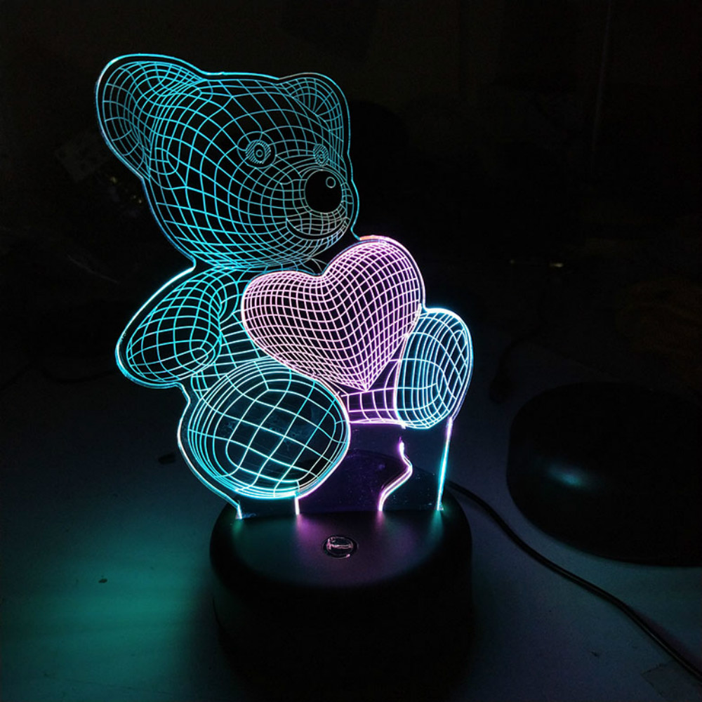double color Love Bear 3D Lamp Change Touch Switch LED Night Light Acrylic Desk Lamp Decoration Light Wholesale Dropshipping
