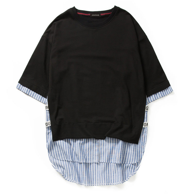 Striped Patchwork Curved Hem Extended T Shirts 9