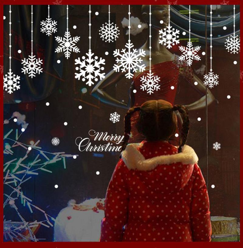 Happy New Year Christmas Decorations for Home Snowflake Glass Sticker Merry Christmas Decor Shop Window Sticker Navidad Natal (11)