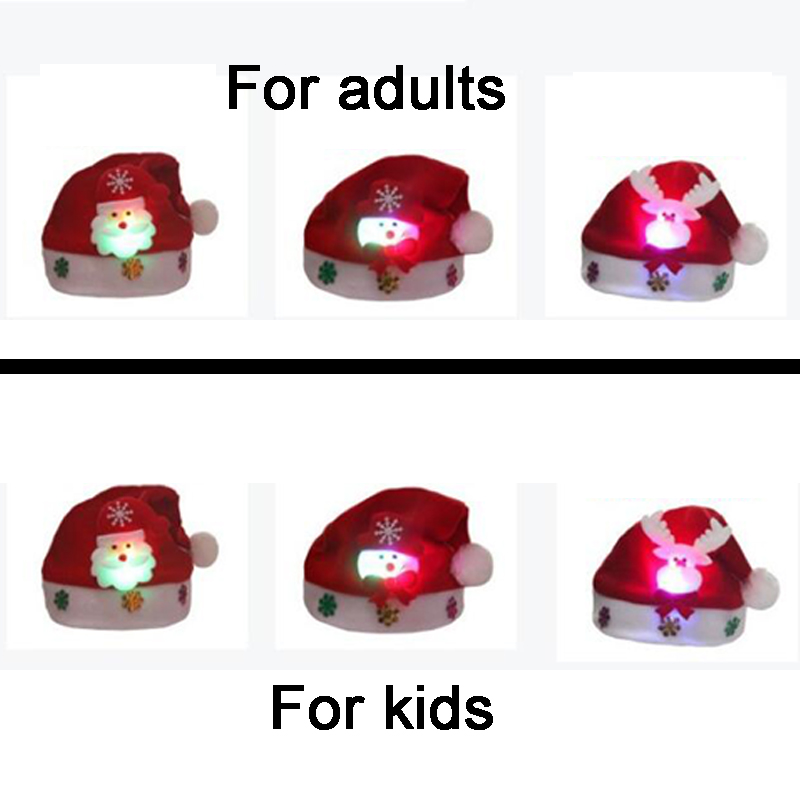 Christmas Hats Santa Cap Kids And Adult Size LEDLight UpLuminous Christmas Hat Decoration New Year Xmas Gifts Party Supplies (1)