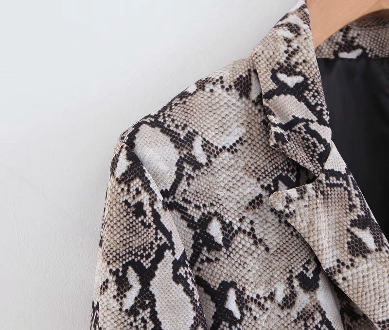 Womens Blazers Long Sleeve Snake Skin Print Long Style Hidden Breasted Ladies Blazers Women Streetwear Outwear S M L (22)